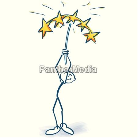stick figure holds five stars high