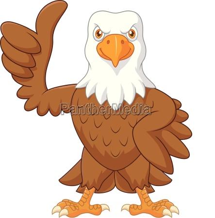 cartoon funny eagle giving thumb up