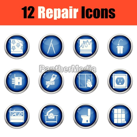 set of repair icons flat design