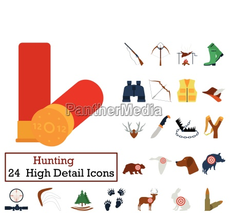 set of 24 hunting icons