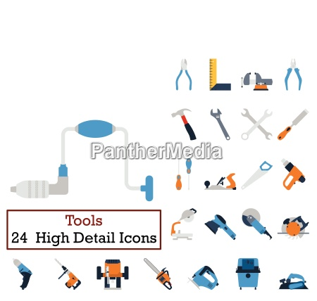 set of 24 tools icons