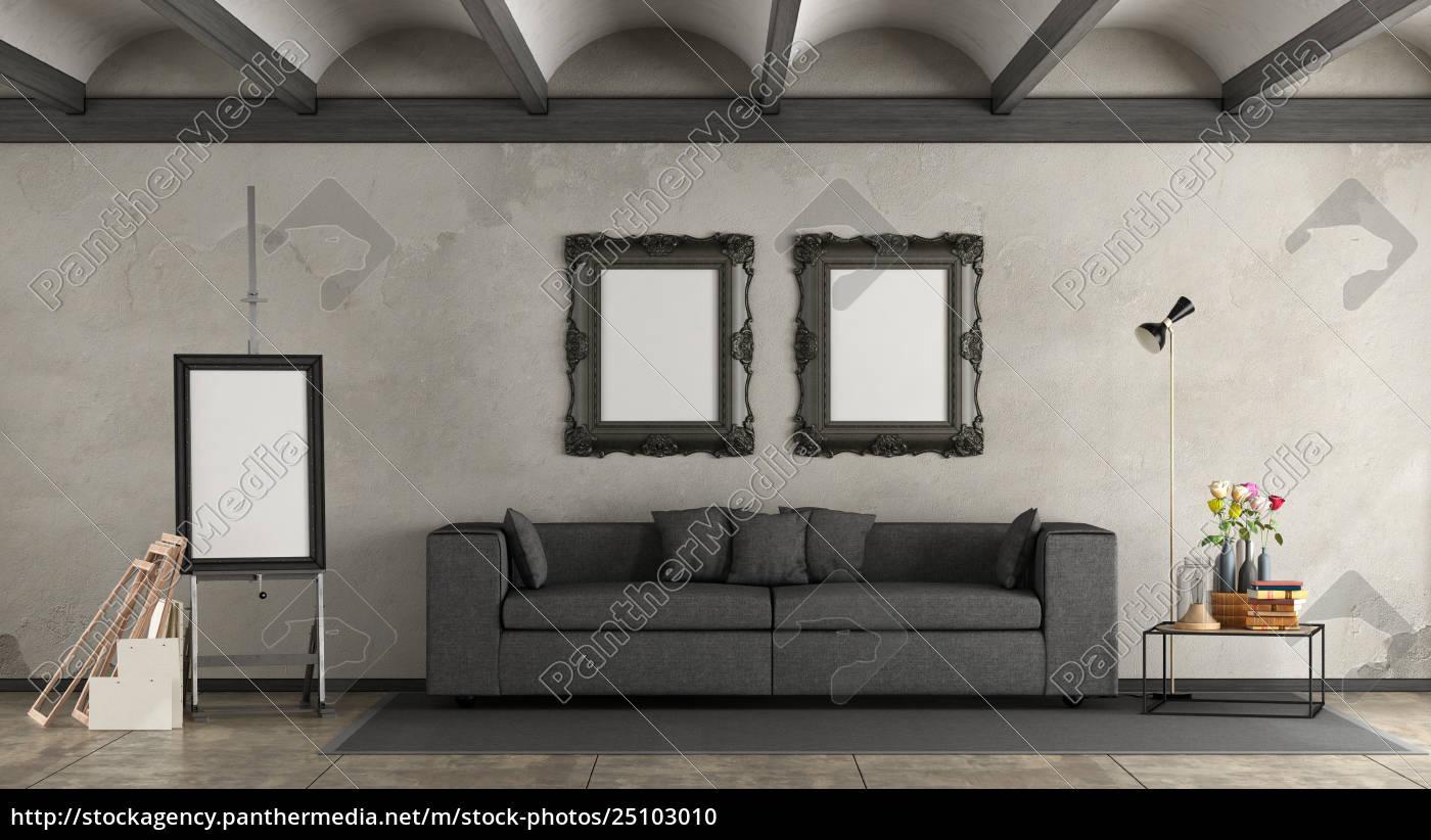 Stockfoto 25103010 - retro wohnzimmer mit modernem sofa