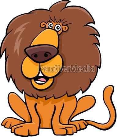 funny lion animal character cartoon illustration