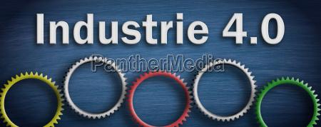 industrie 40 konzept mit zahnraedern auf