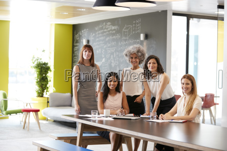 five female colleagues at a work