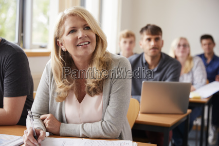 mature woman in college attending adult