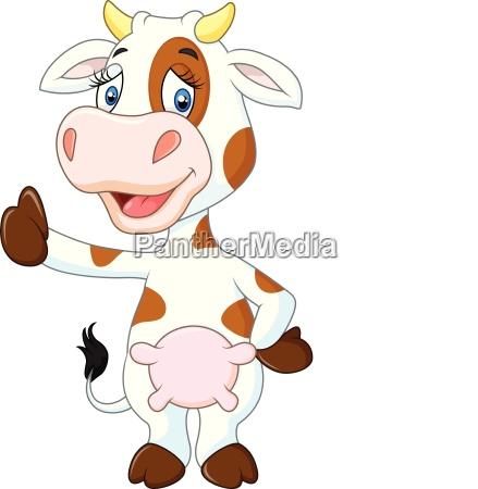 glueckliche kuh die den daumen oben