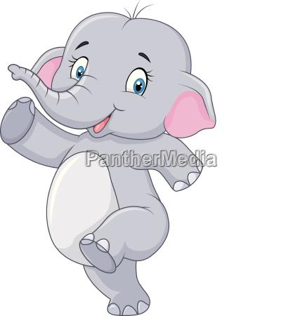 cartoon cute happy cartoon elephant isolated