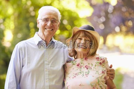 portrait of senior couple on walk