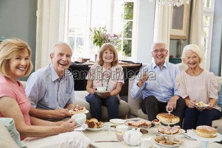 porträt, von, seniorenfreunden, die, sich, am, nachmittagstee - 25120082