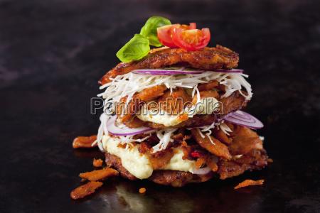 veggie burger made of potato fritters