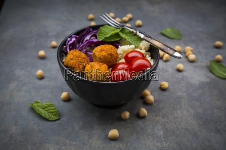 couscous sweet potato falafel bowl with