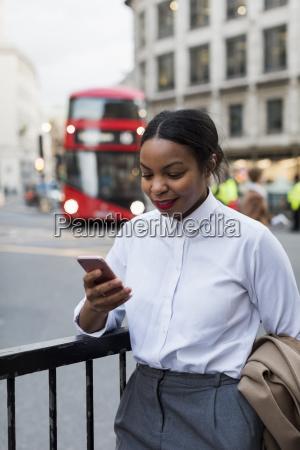 uk london smiling businesswoman looking