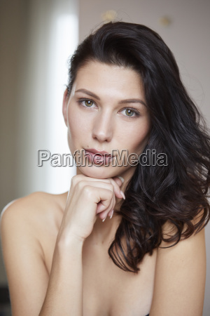 portrait of attractive dark haired young