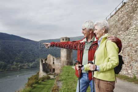 germany rheingau happy senior couple looking