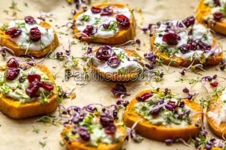 slices of sweet potato with cream