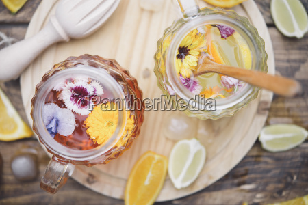 refreshing mineral water with edible flowers