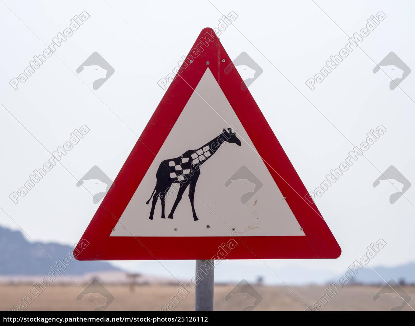 afrika, namibia, verkehrsschild, vorsicht, etikett, giraffe - 25126112
