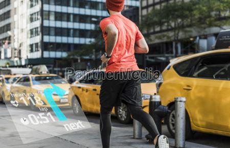 usa new york city man running