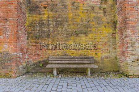 germany bavaria memmingen wooden bench and