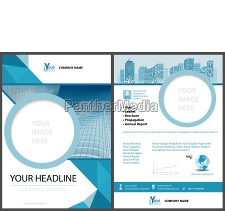 blaue leaflet vorlage mit geometrischen elementen