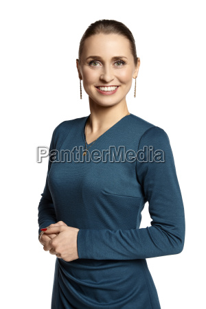 elegant young woman smiling to you
