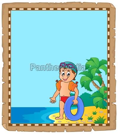 pochment mit kleinen jungen schwimmer