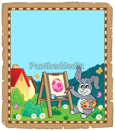 parchment with easter bunny painter