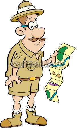 karikaturillustration eines forschersder eine karte betrachtet