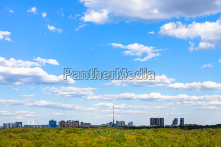 blue sky over residential district and