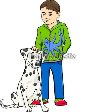 boy with dalamtian dog cartoon illustration
