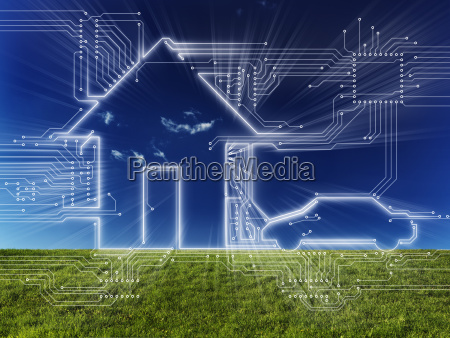 connected home and electric car digital