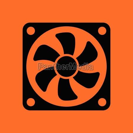 fan symbol orange hintergrund mit schwarz