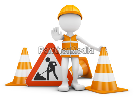 road worker and sign