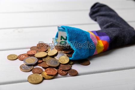 socke voll mit euro geld spar