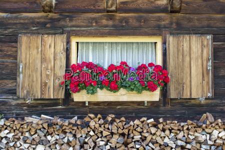 window of an alpine hut and