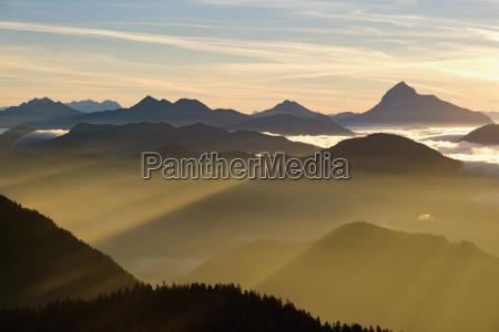 sunrise view from the hirschhoernlkopf rear