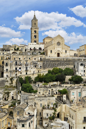 medieval old town with cathedral sassi