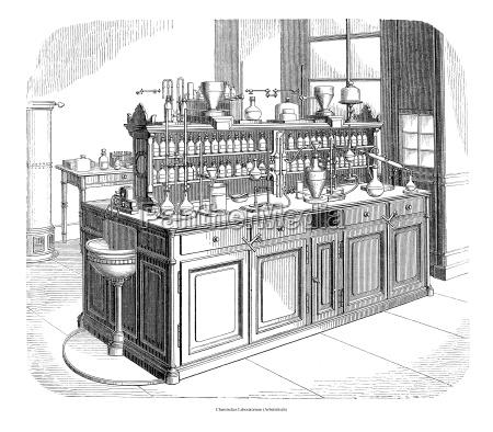chemisches laboratorium arbeitstisch illustration aus