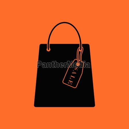 shopping bag with sale tag icon