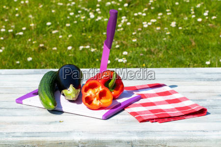 fresh vegetables on rustic bright wooden