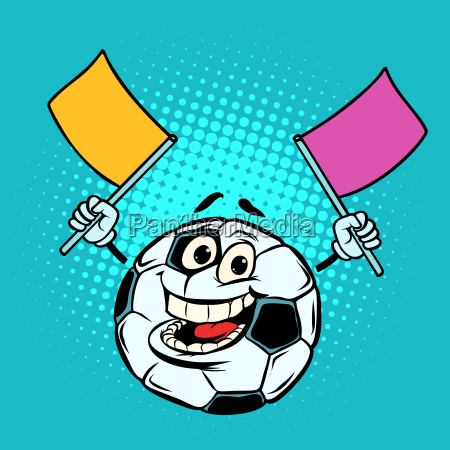 fan with flags football soccer ball