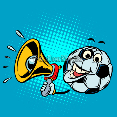 fan with megaphone football soccer ball