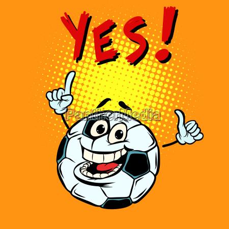 yes happy fan football soccer ball