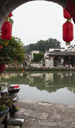 red lanterns on a house by