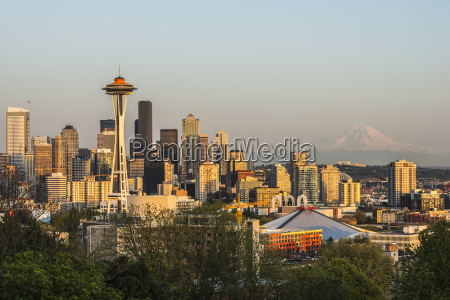 downtown seattle in evening light with