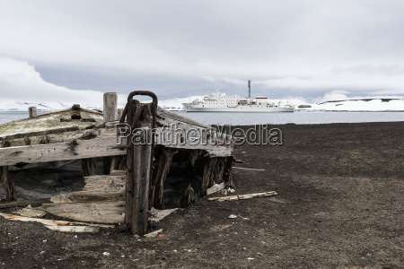 old wooden boat abandoned on the