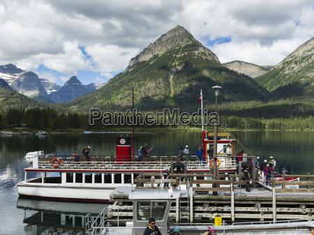 tour boat on upper waterton lake