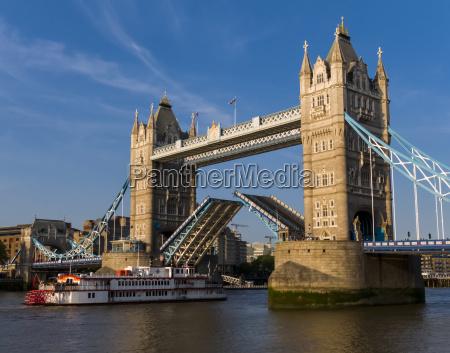 tower bridge lifted london england