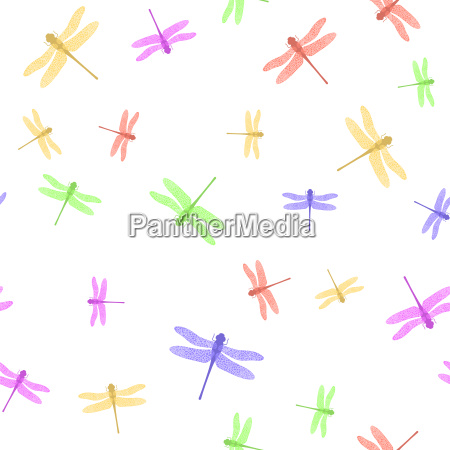colorful stilized dragonfly seamless pattern isolated